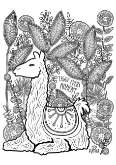 Adult Coloring Pages Animals Llama 1