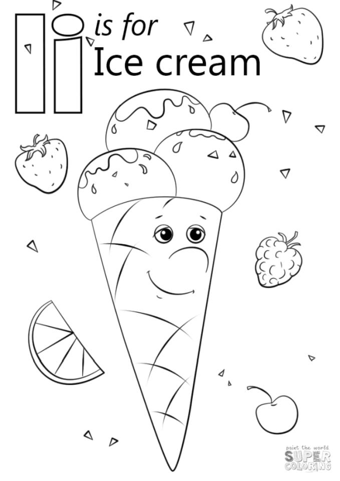 I Is for Ice Cream Coloring Pages 565d