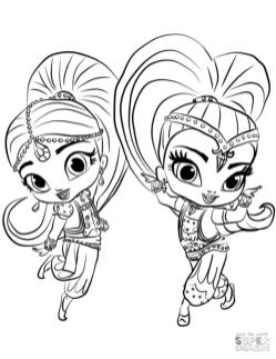 Shimmer and Shine Coloring Pages Free njs1