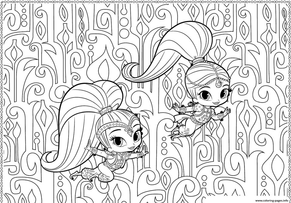 Shimmer and Shine Coloring Pages Printable bch5