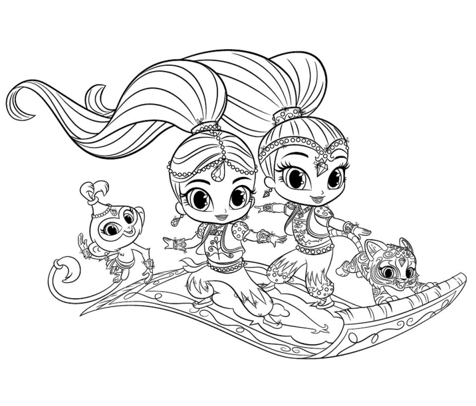 Get This Shimmer and Shine Coloring Pages for Girls tmn9