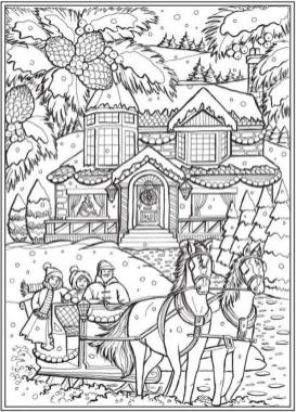 Adult Christmas Coloring Pages Free Sled and Horses tcz0