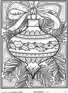 Adult Christmas Coloring Pages Free Tree Ornament tro7