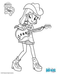 Equestria Girls Coloring Pages Applejack Playing Guitar