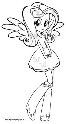 Equestria Girls Coloring Pages Cute Fluttershy