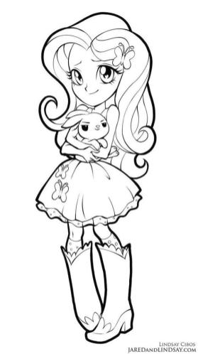Equestria Girls Coloring Pages Fluttershy Holding a Bunny
