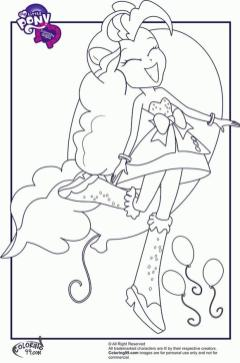 Equestria Girls Coloring Pages Pinkie Pie Happy