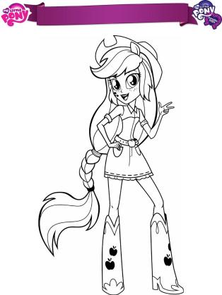 Equestria Girls Coloring Pages Pony Applejack