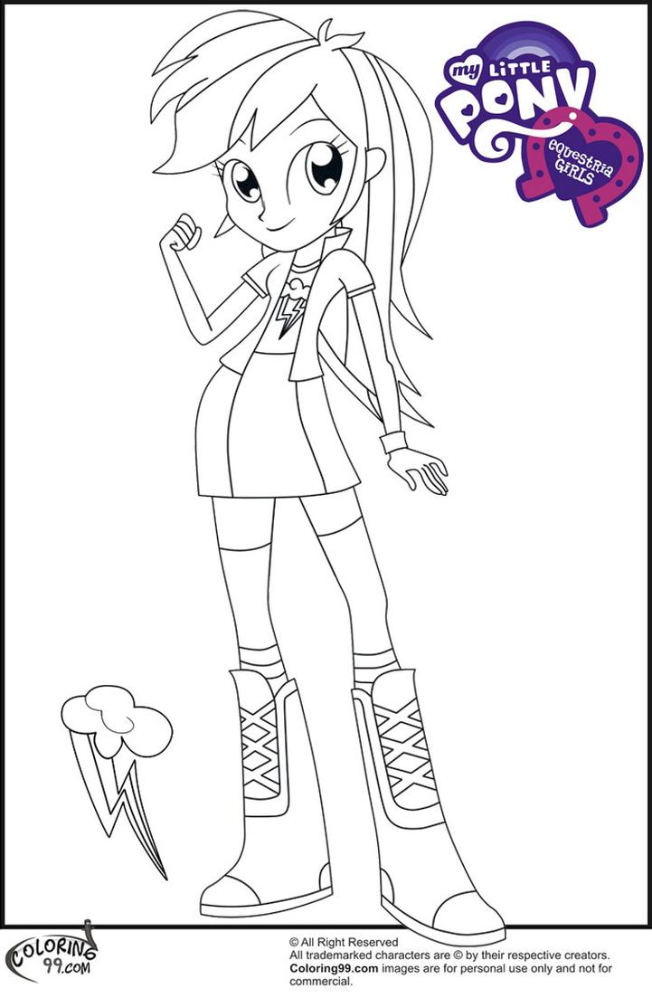 Equestria Girls Coloring Pages Rainbow Dash Funky