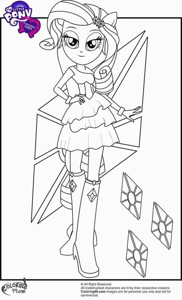 Equestria Girls Coloring Pages Rarity Stylish