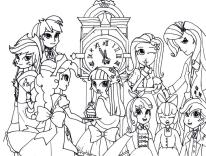 Equestria Girls Coloring Pages School Girls
