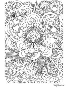 Flower Pattern Coloring Pages to Print for Adults ulc7