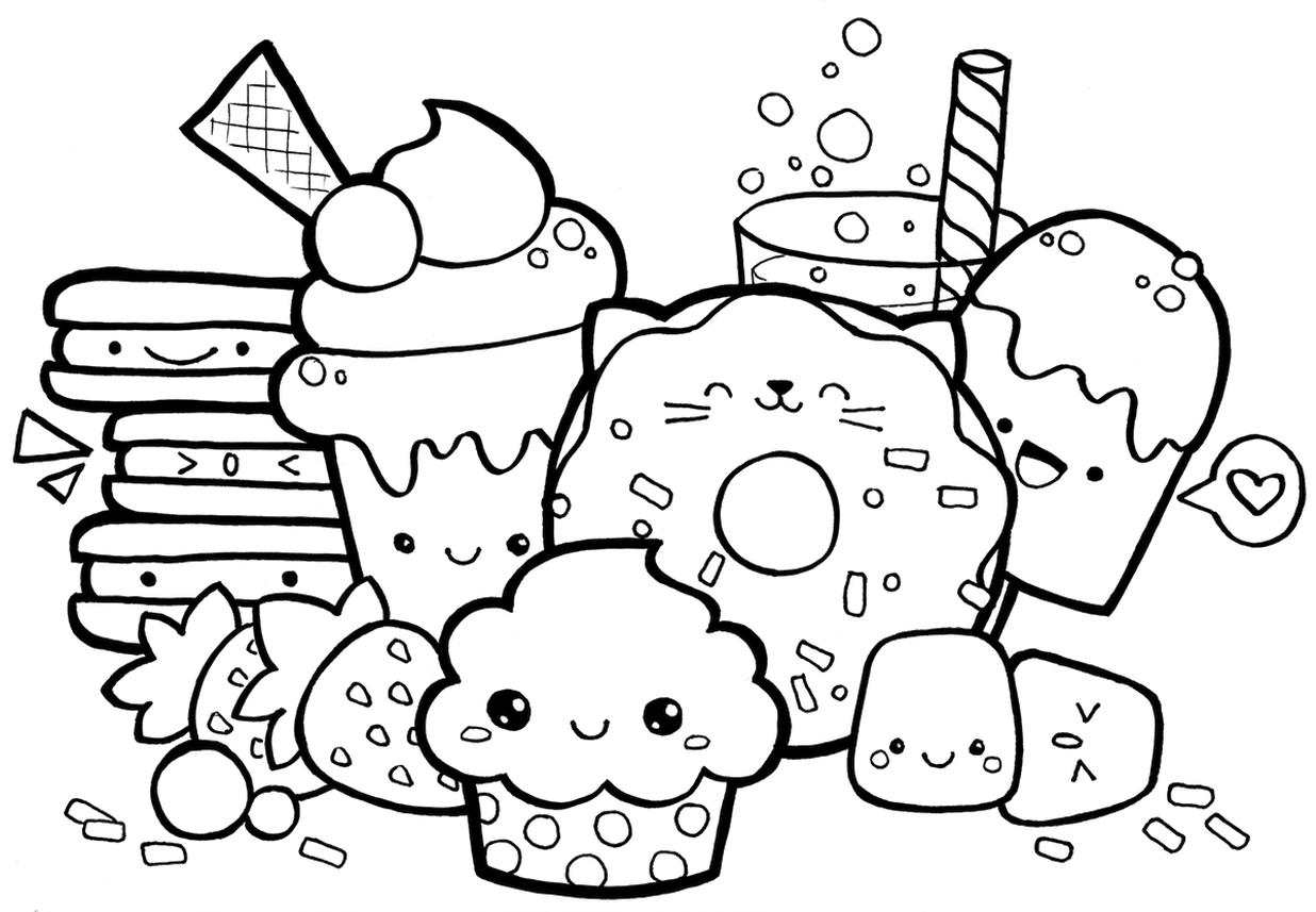 Free Kawaii Coloring Pages Food Printable