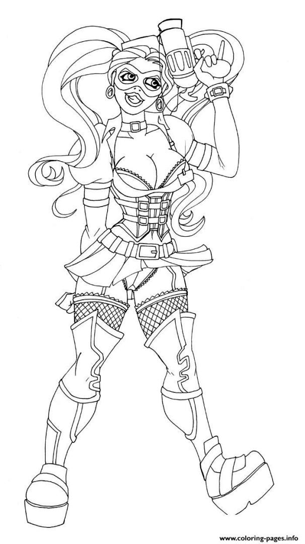 Harley Quinn Coloring Pages for Grown Ups 6pst