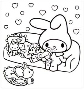 Kawaii Bunny Coloring Pages to Print