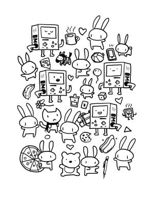 Kawaii Coloring Pages Bunny Bear Animals
