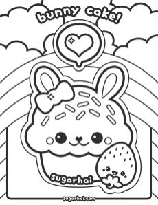 Kawaii Coloring Pages Bunny Cake Cute