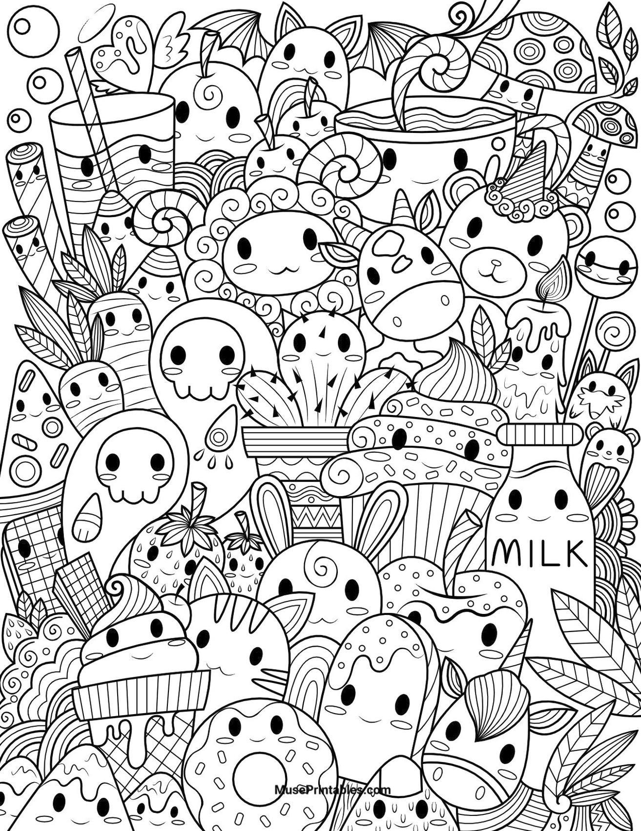 Kawaii Coloring Pages Food Doodle Printable
