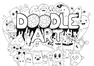 Kawaii Coloring Pages Monster Doodle Art