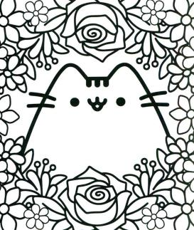 Kawaii Coloring Pages Pusheen Cat for Adults