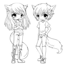 Kawaii Teenage Anime Characters Coloring Pages