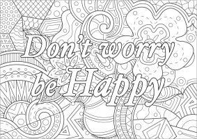 Printable Adult Coloring Pages Quotes Be Happy