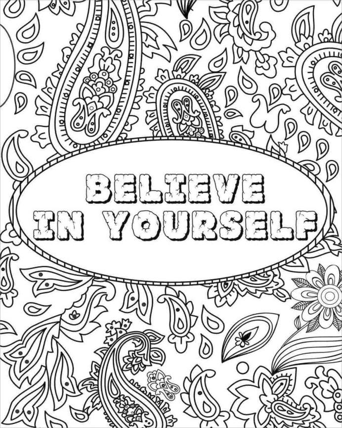 Get This Printable Adult Coloring Pages Quotes Believe in ...
