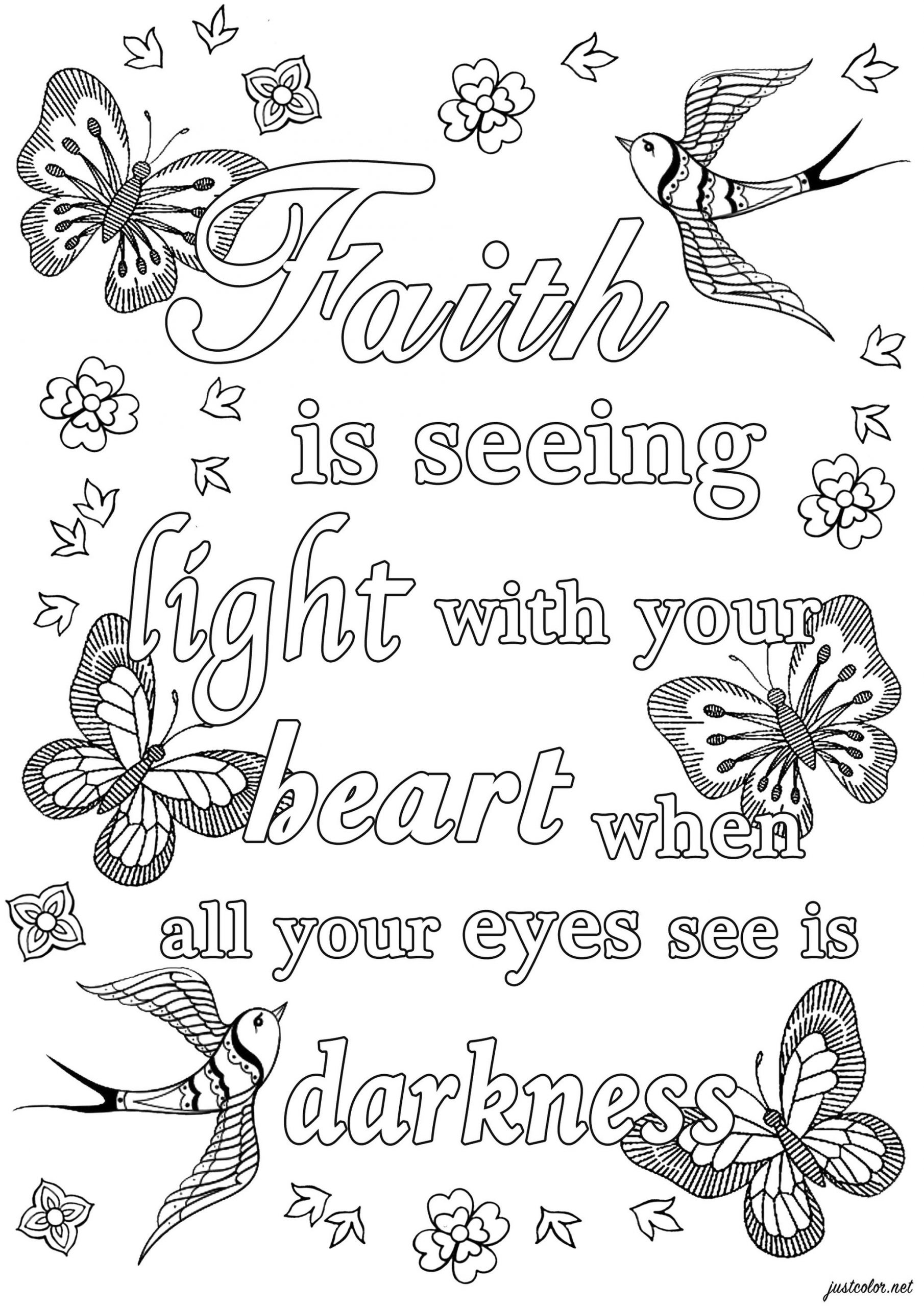Printable Adult Coloring Pages Quotes Faith in Darkness
