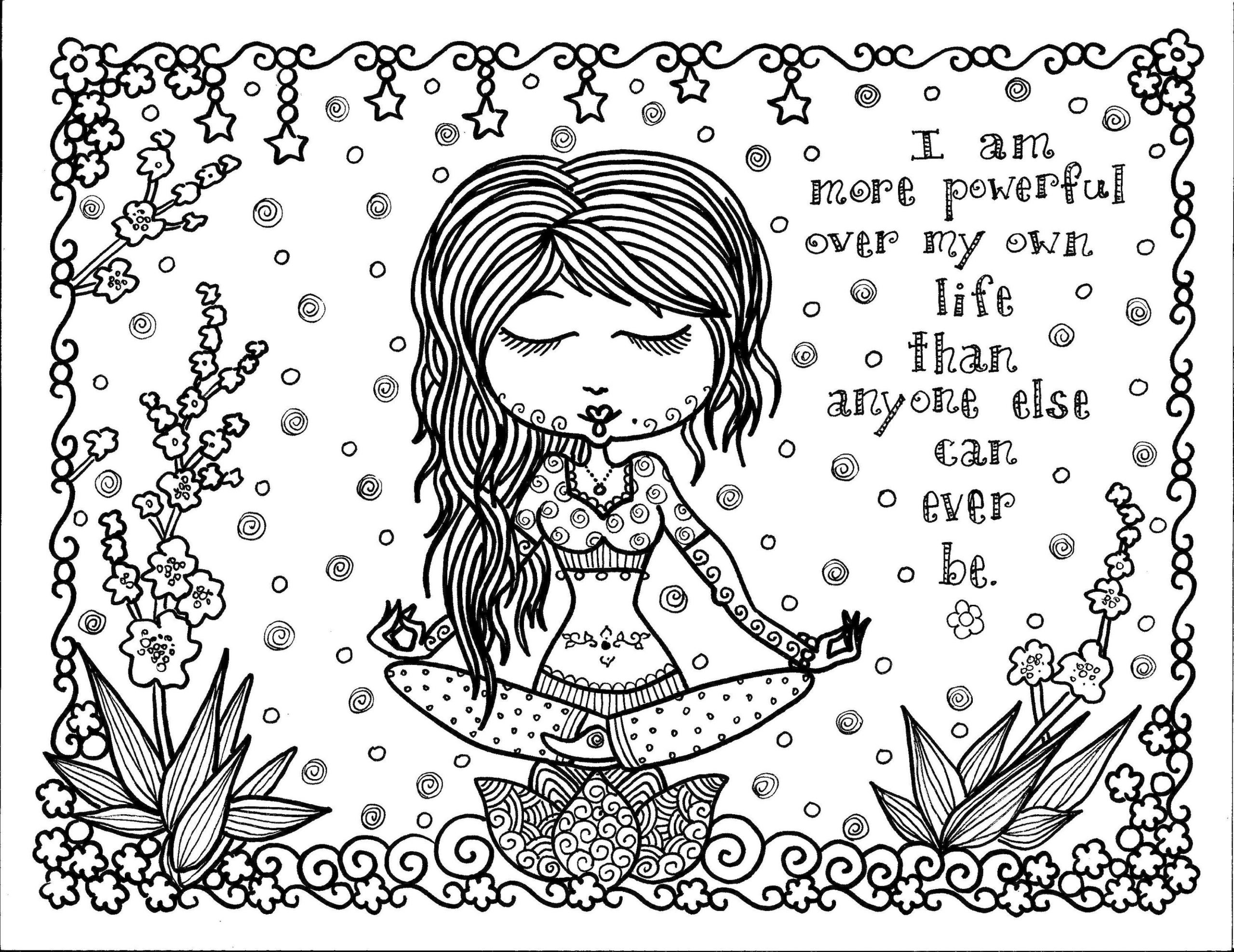 Printable Adult Coloring Pages Quotes I Am Powerful