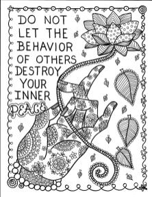 Printable Adult Coloring Pages Quotes Inner Peace