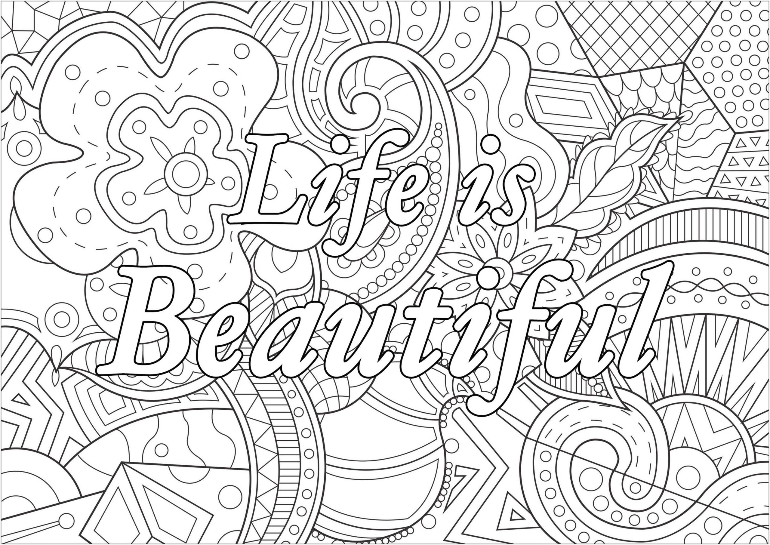 Printable Adult Coloring Pages Quotes Life Is Beautiful