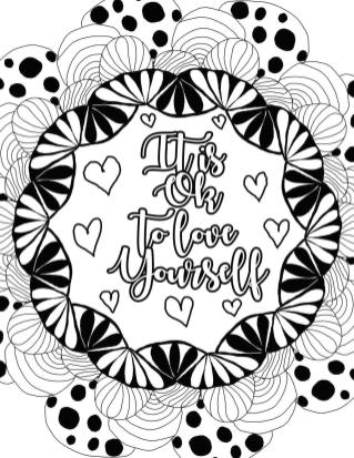 Printable Adult Coloring Pages Quotes Love Yourself