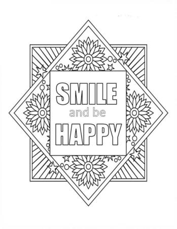 Printable Adult Coloring Pages Quotes Smile and Be Happy