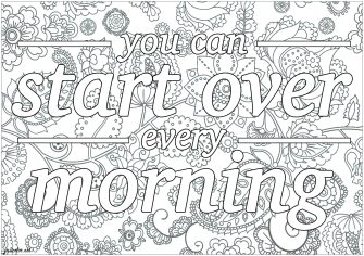 Printable Adult Coloring Pages Quotes Start Over in the Morning