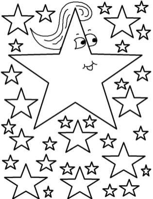 Star Coloring Pages Cartoon Star with Ponytail
