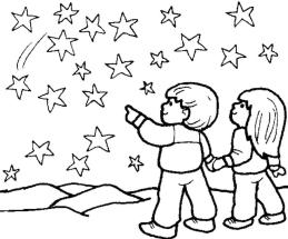 Star Coloring Pages Children Watching Stars at Night