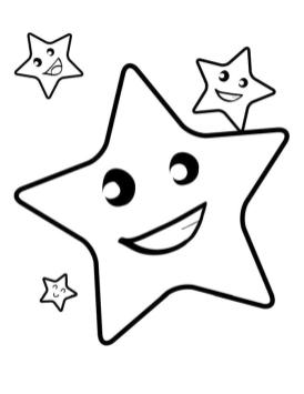Star Coloring Pages Cute Little Star with His Friends