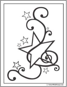 Star Coloring Pages Fancy Musical Star
