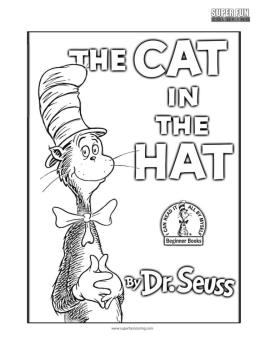 Cat In The Hat Coloring Pages Dr. Seuss Printable for Kids 114r