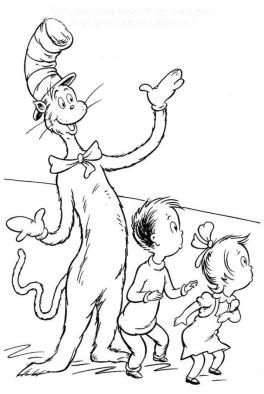 Cat In The Hat Coloring Pages for Kids 7lom