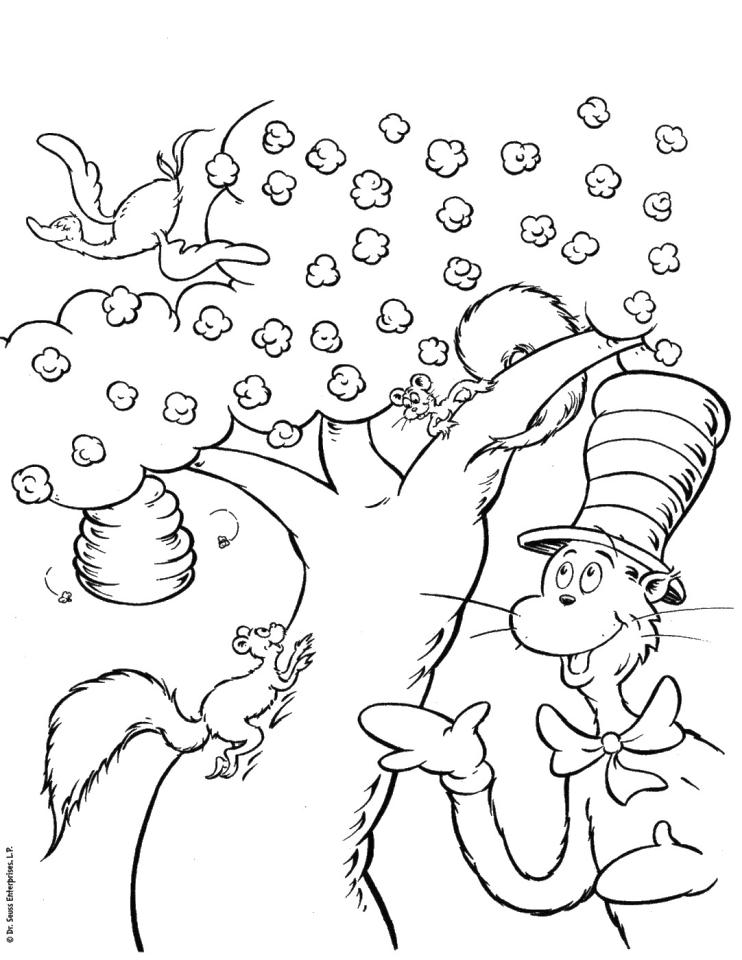 Dr. Seuss Cat In The Hat Coloring Pages Free Printable 0vbh