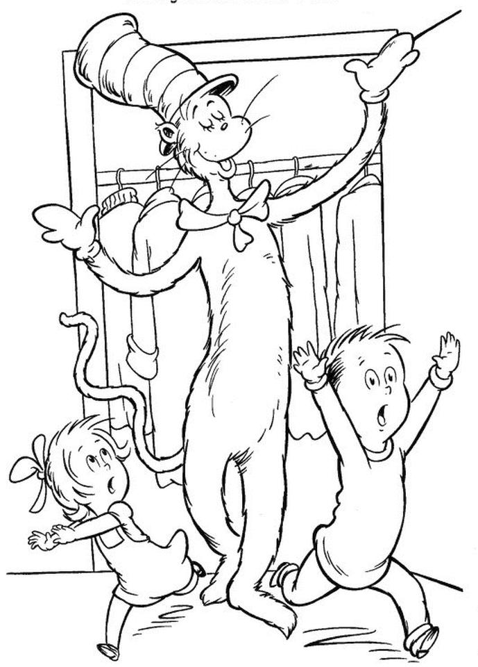Dr. Seuss Cat In The Hat Coloring Pages Free Printable 7res