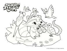 Raccon and Parrots Animal Jam Coloring Pages Free Printable 1rcp