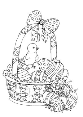 Adult Easter Coloring Pages Easter Basket with Little Chick