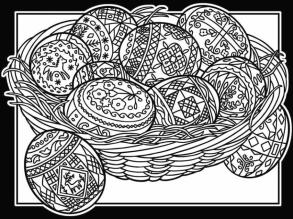 Adult Easter Coloring Pages Easter Basket with Patterned Eggs