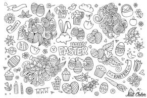 Adult Easter Coloring Pages Easter Doodle