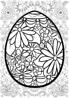 Adult Easter Coloring Pages Easter Egg with Floral Pattern