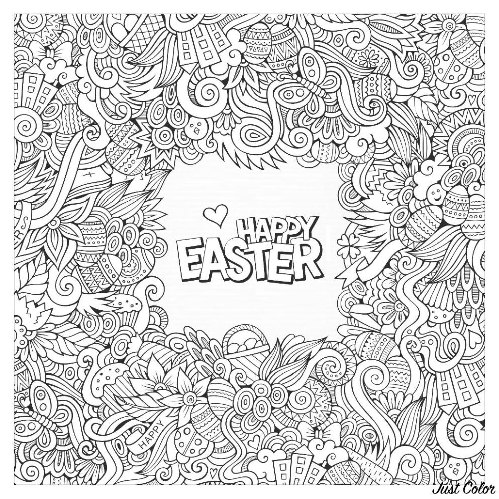 Adult Easter Coloring Pages Happy Easter Doodle Printable