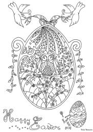 Adult Easter Coloring Pages Happy Easter Egg Doodle