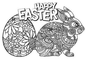 Adult Easter Coloring Pages Happy Easter from Easter Bunny